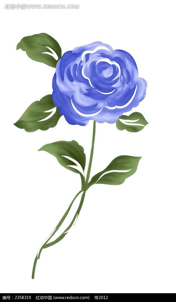 手绘蓝色玫瑰与叶子