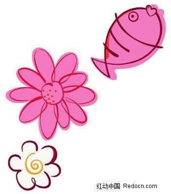 手绘图案花与小鱼