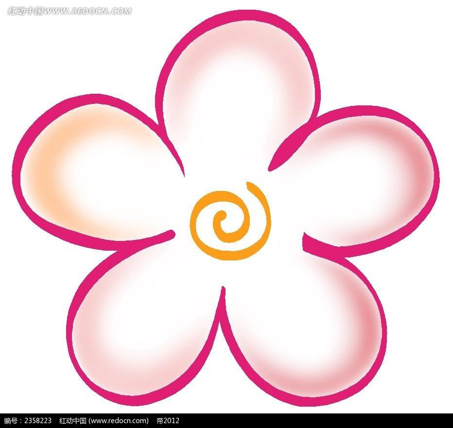 手绘线性五瓣花