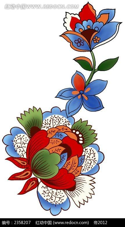 花朵纹饰色彩线描装饰画