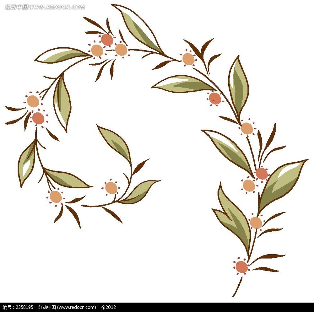 简约水彩植物色彩线描装饰画psd免费下载_花纹花边素材