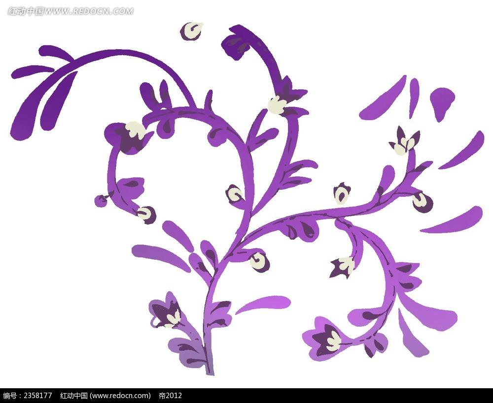 紫色植物色彩线描装饰画