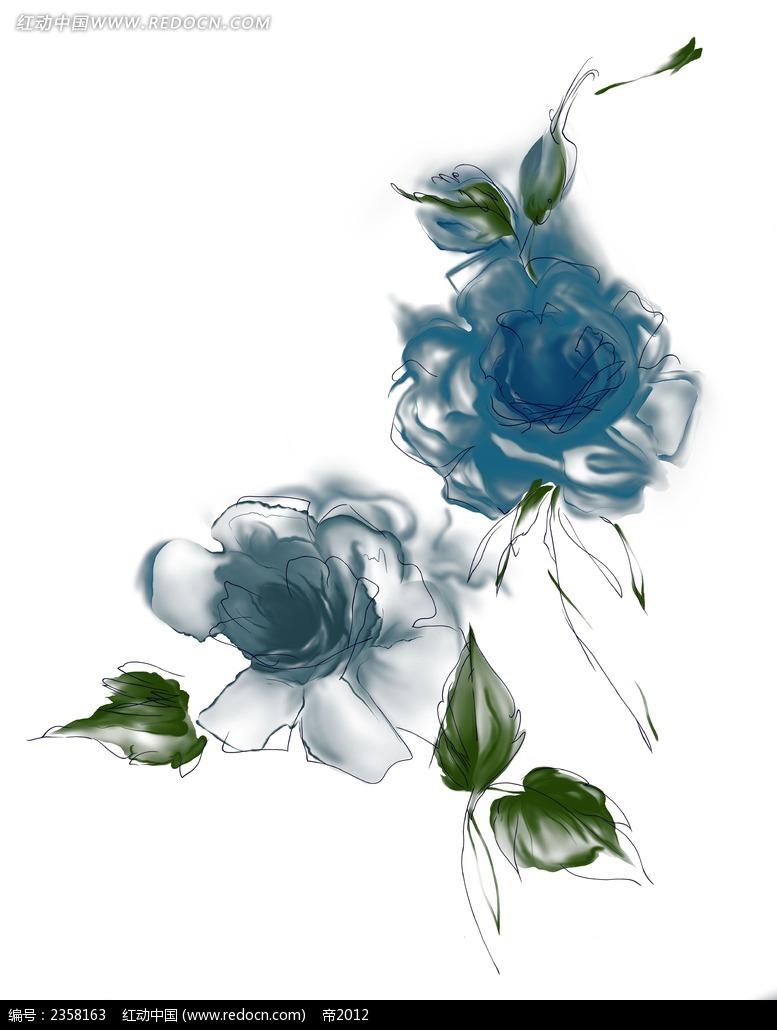 手绘涂鸦花朵与叶子