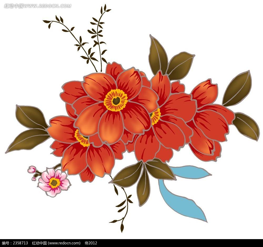 红色茶花彩色植物装饰画