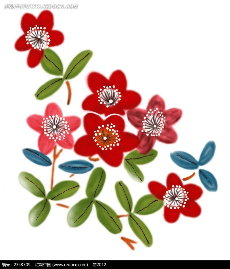 红色梅花彩色植物装饰画