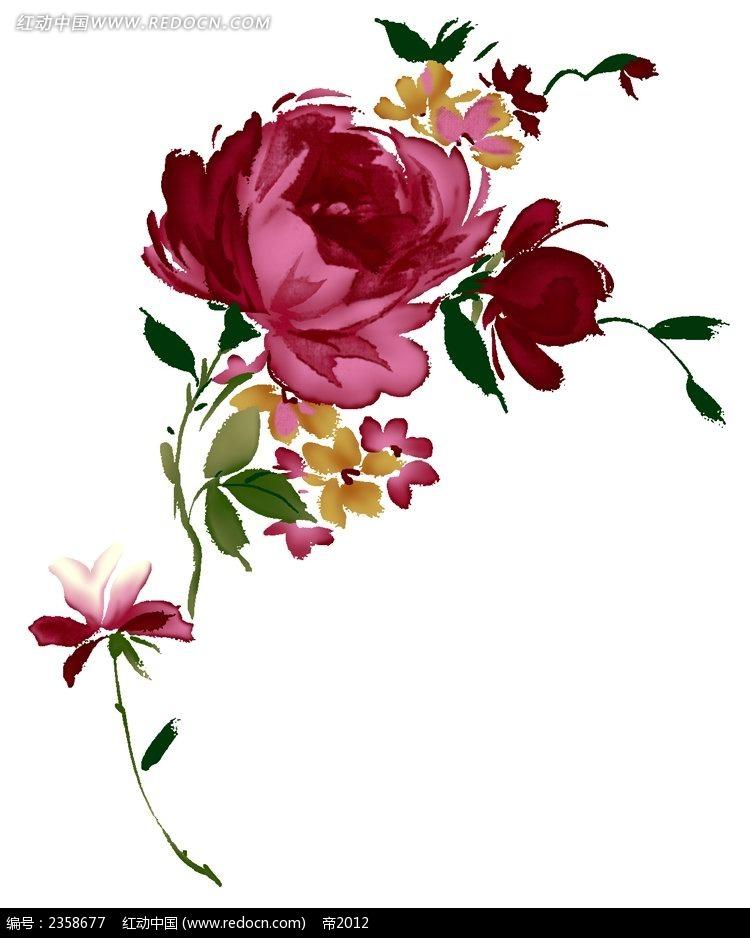 红色水彩玫瑰花