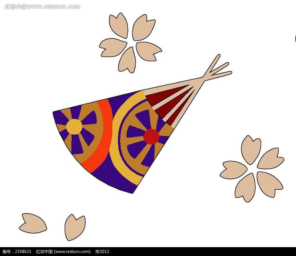 日式手绘樱花扇子