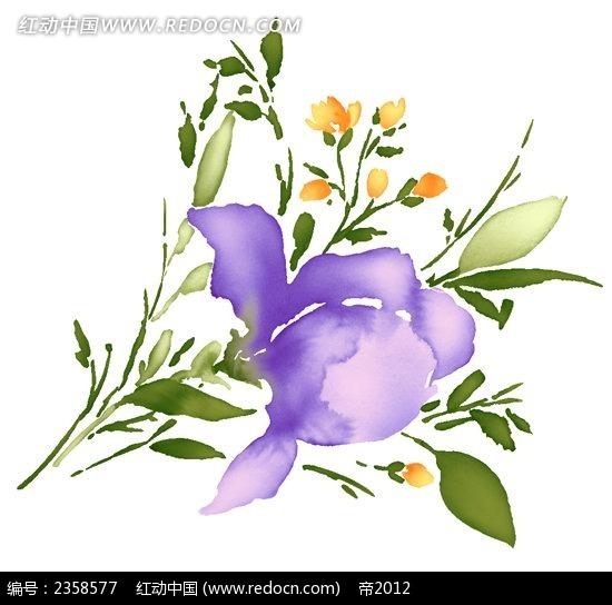 手绘鸢尾花花束