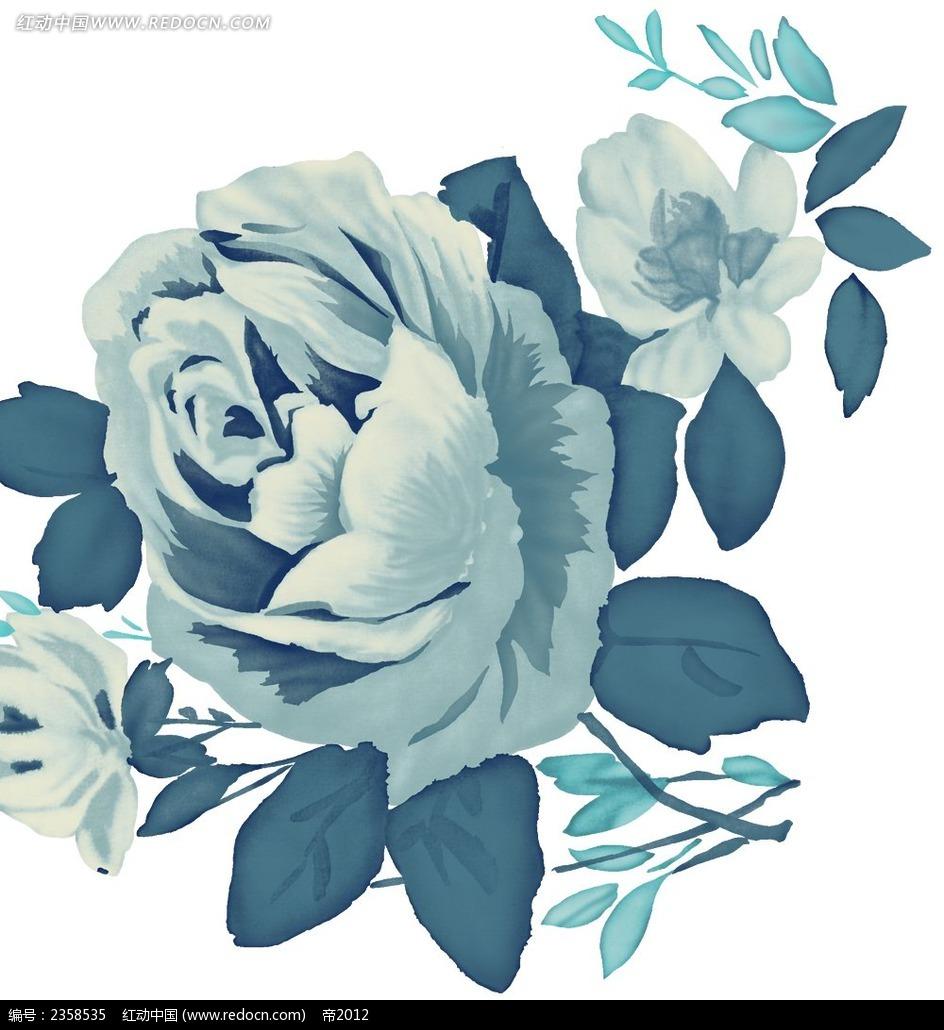 花朵水彩笔画-蓝色玫瑰花 水彩 随 笔画