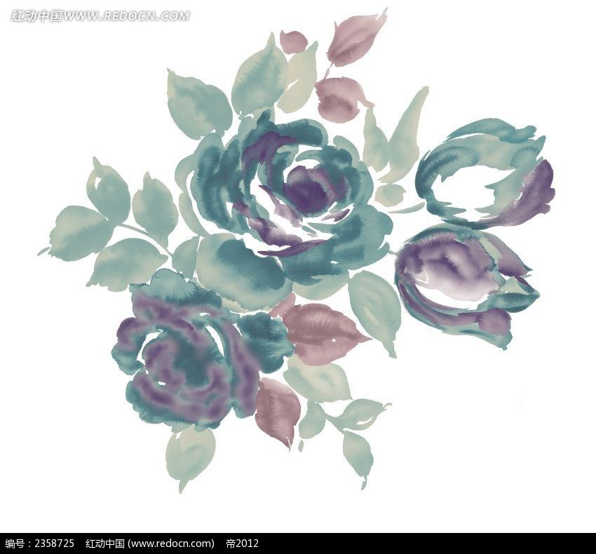 绿色玫瑰花彩色植物装饰画图片