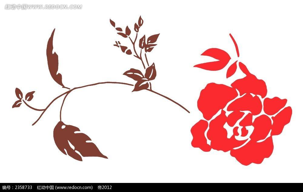 一支红色玫瑰花花苞彩色植物装饰画