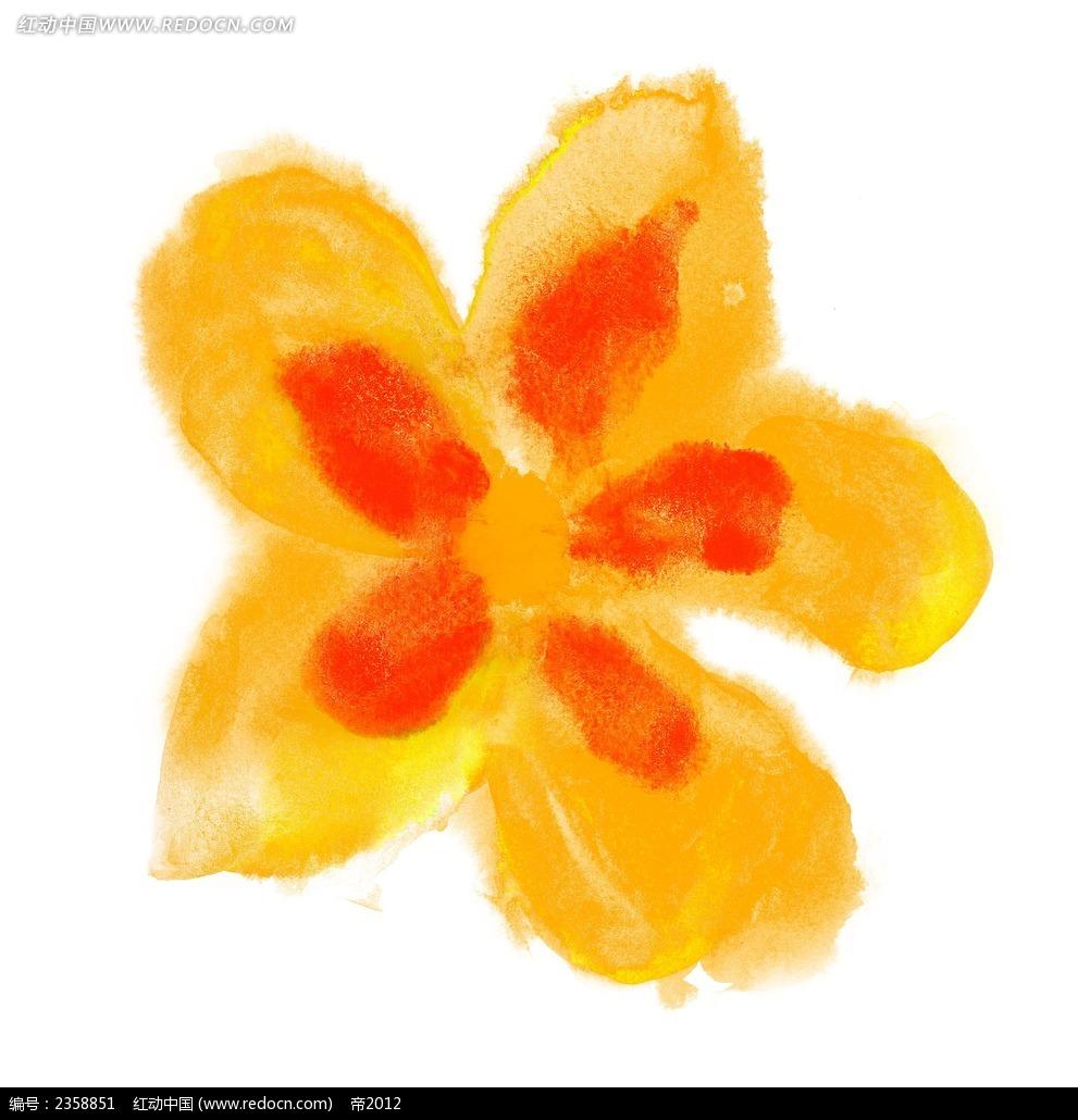 橘色五瓣花手绘画