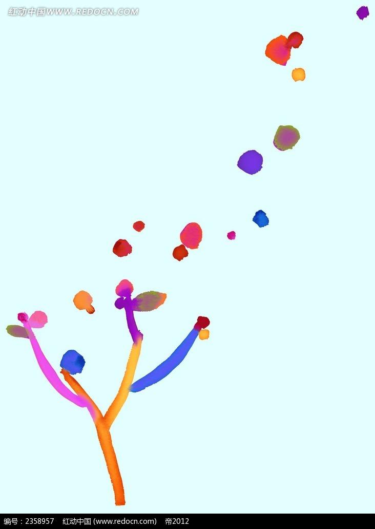 飞舞蒲公英水彩抽象装饰画