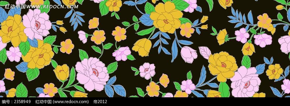 牡丹花团锦簇线描画装饰画