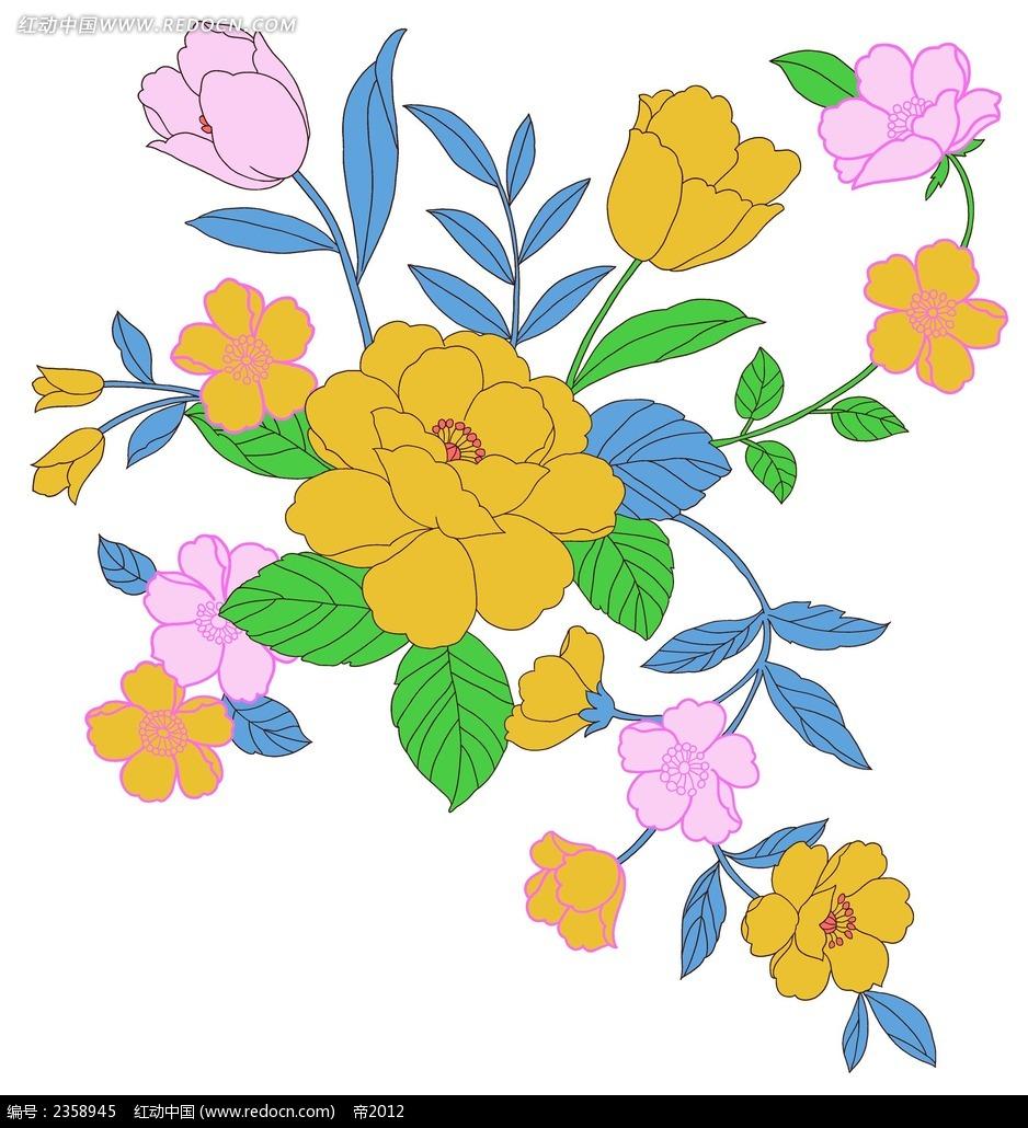 花团锦簇迎春花手绘插画_花纹花边_红动手机版