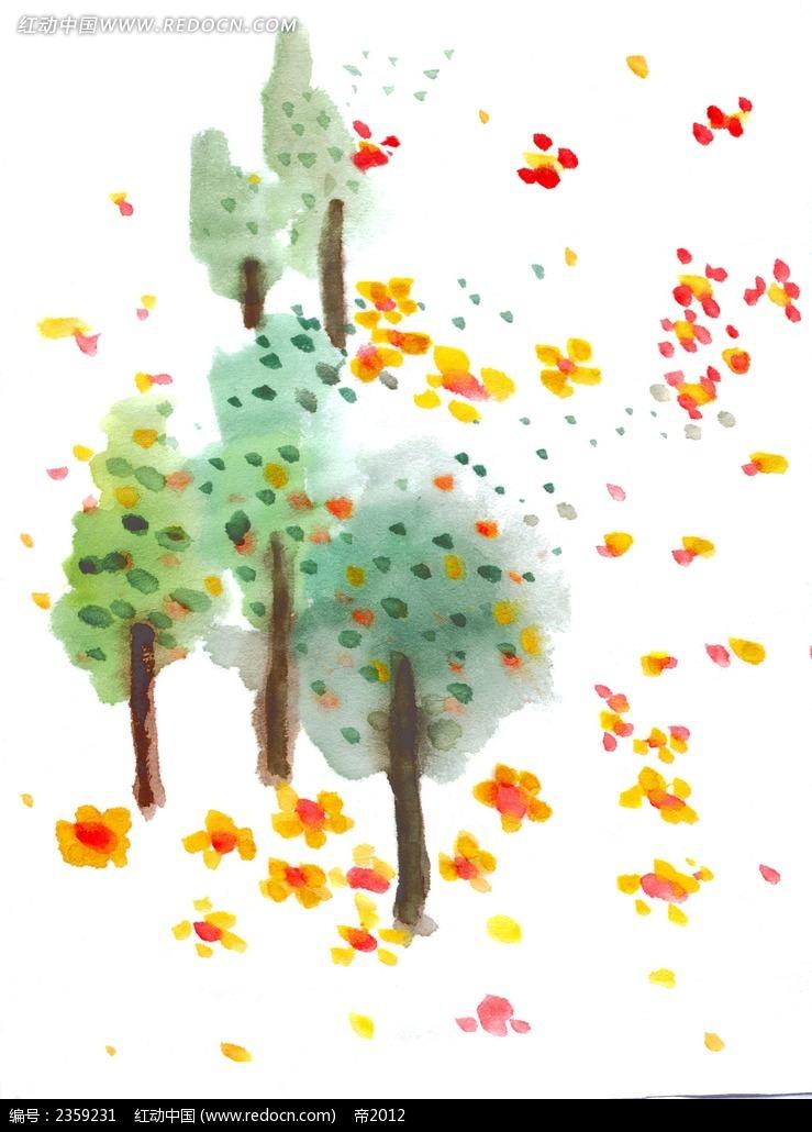 绿色森林手绘风格插画图片