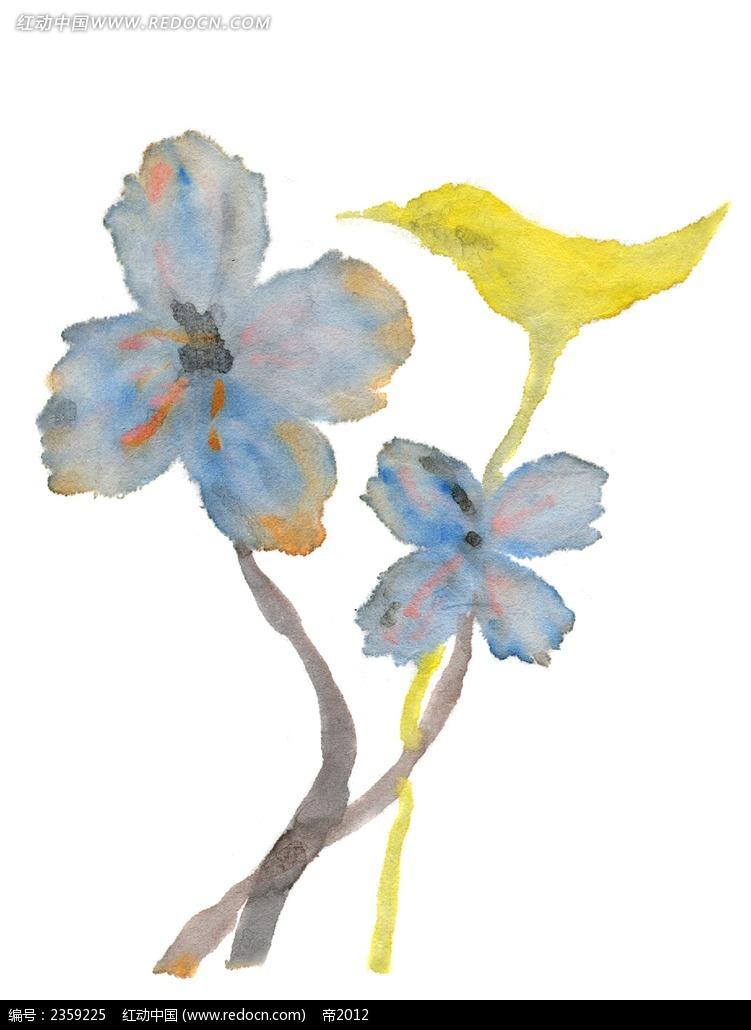 花纹边框 花纹花边 > 蓝色花朵蜂鸟水彩随笔简笔画