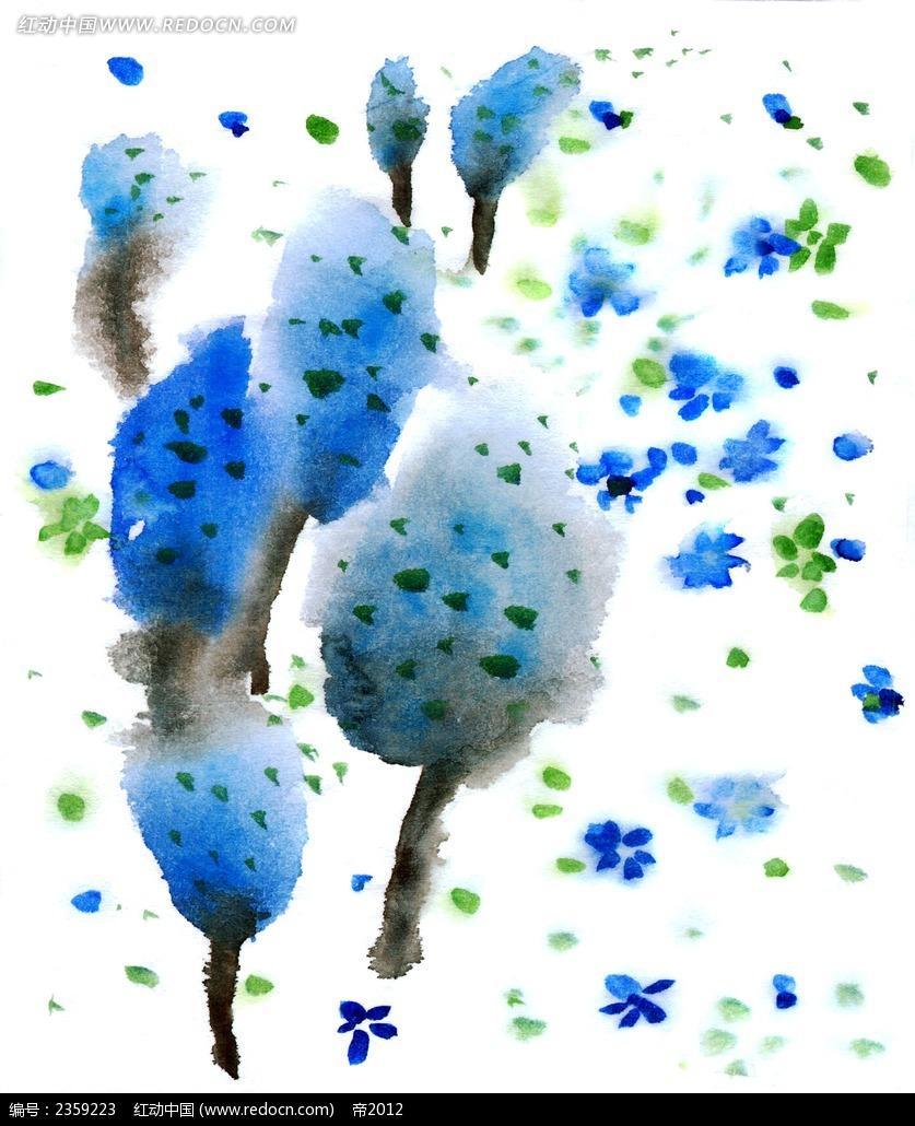 蓝色森林水彩随笔简笔画PSD素材免费下载 红动网