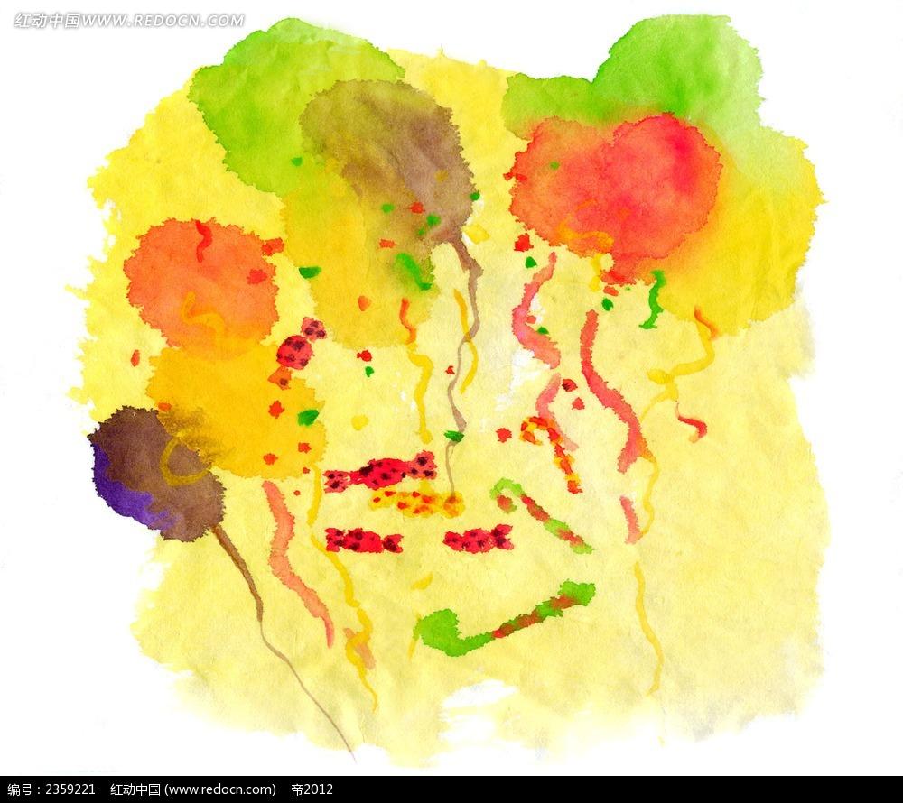 黄色背景烟花水彩随笔简笔画高清图片