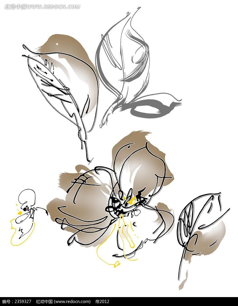 手绘简洁花朵psd素材