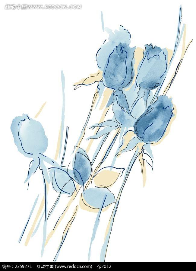 蓝色妖姬手绘风格插画