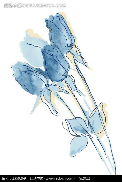 手绘抽象玫瑰花