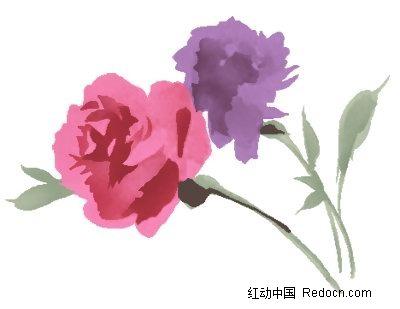 一支红色玫瑰花手绘稿