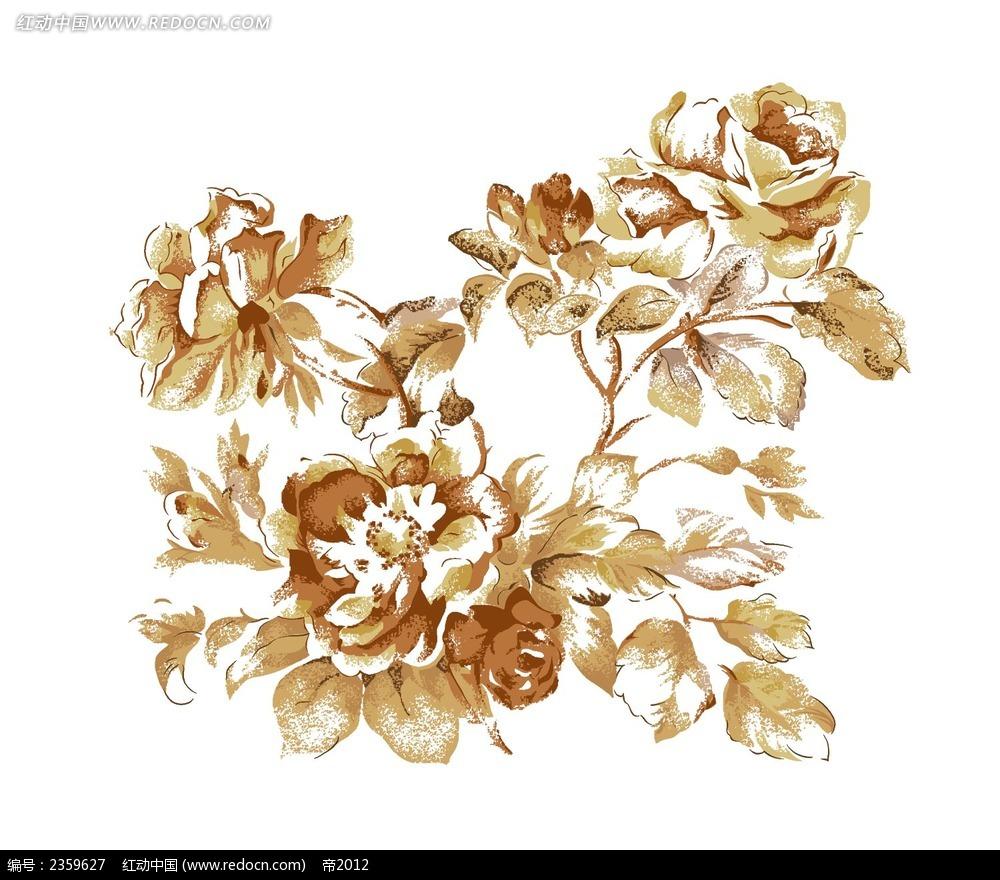 金色玫瑰花手绘稿