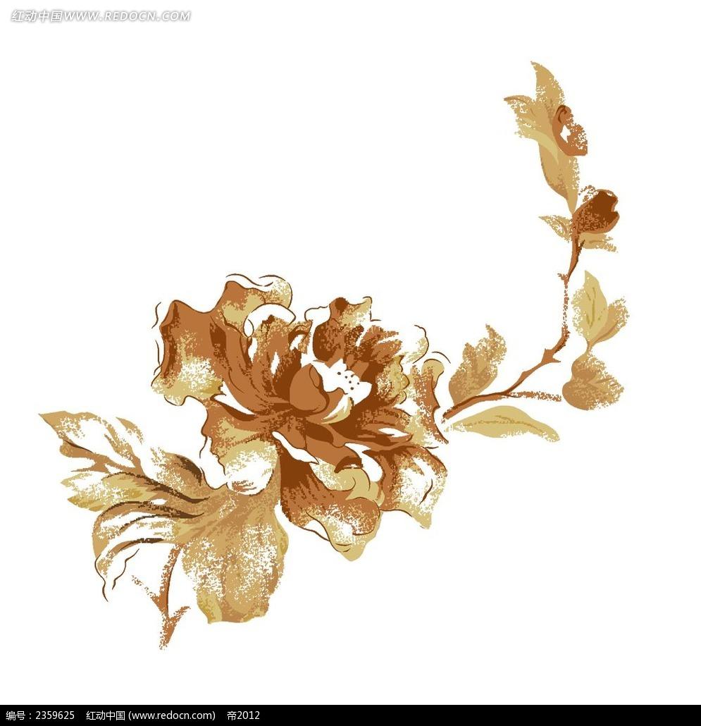一支金色玫瑰花手绘稿