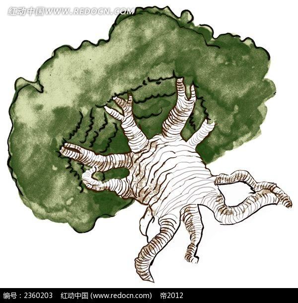 造型奇异的手绘大树
