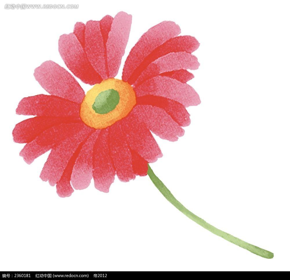 红色手绘太阳菊