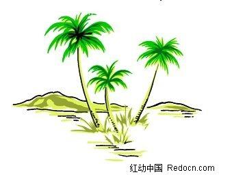 海边椰子树手绘图