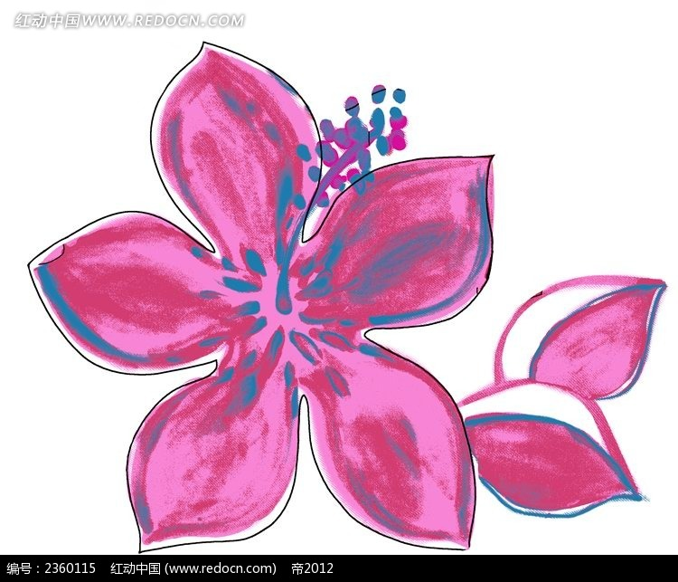 红色手绘小花