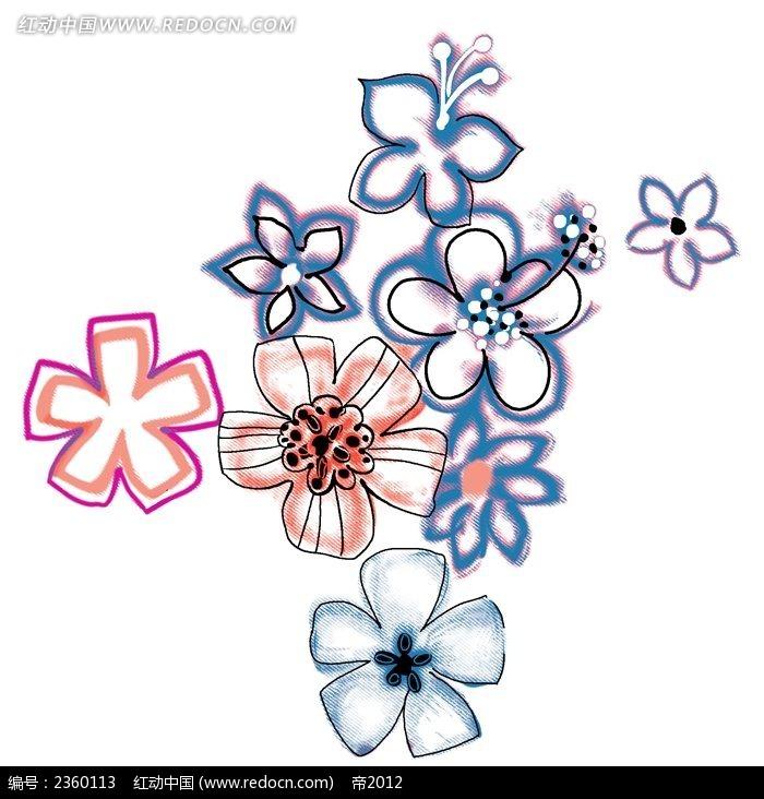 蓝色手绘小花