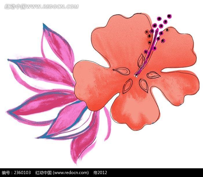 红色手绘花朵