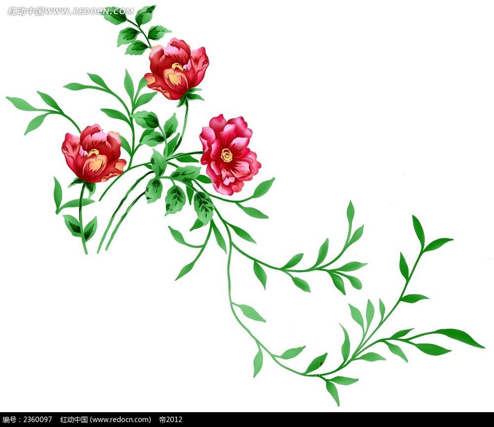 psd分层素材 花朵 画笔  红色 夹竹桃 绿色叶子 枝叶 花纹 花纹素材