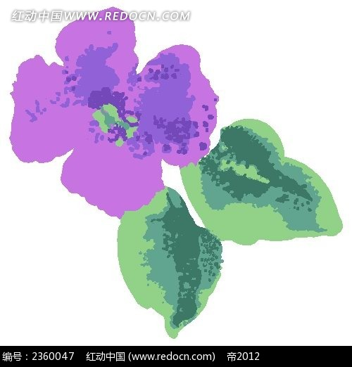 紫色复古风手绘花朵psd素材