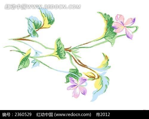 彩色手绘花朵写生素材