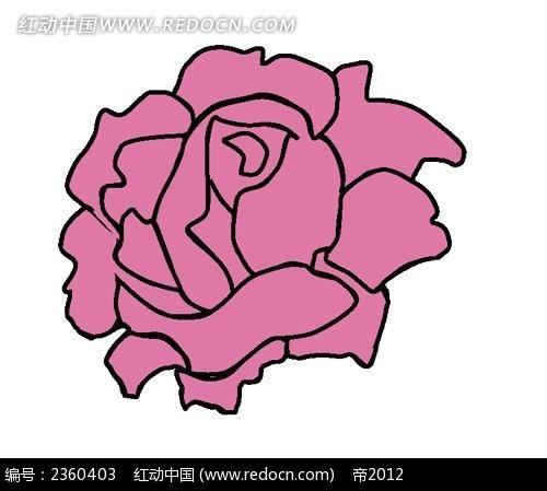 卡通手绘粉红色玫瑰花简约时尚插画