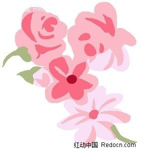 漂亮粉色花朵手绘风格绘图