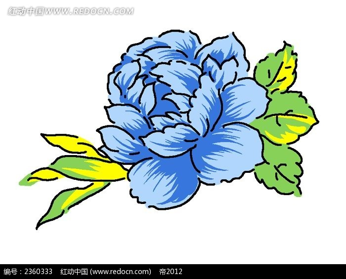 蓝色手绘牡丹花