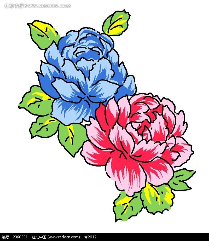 两朵手绘牡丹花