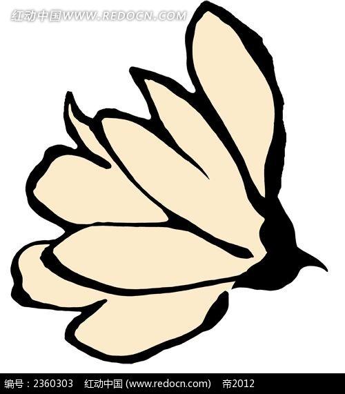 手绘米白色花朵简约时尚插画