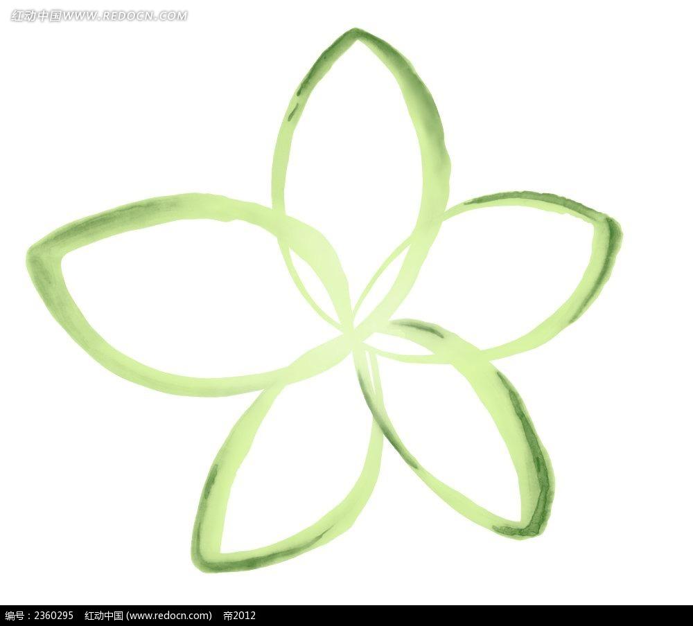 手绘绿色调五瓣图案花
