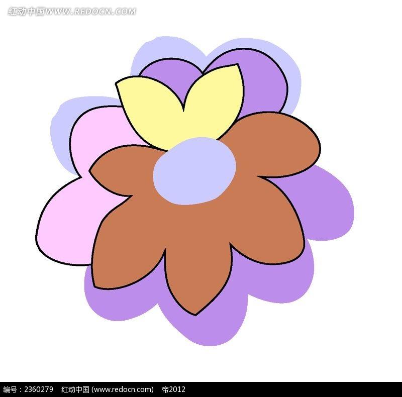彩色卡通手绘花朵插画
