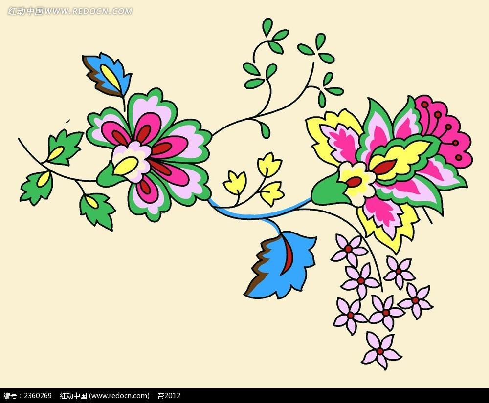 手绘彩色花纹素材图片