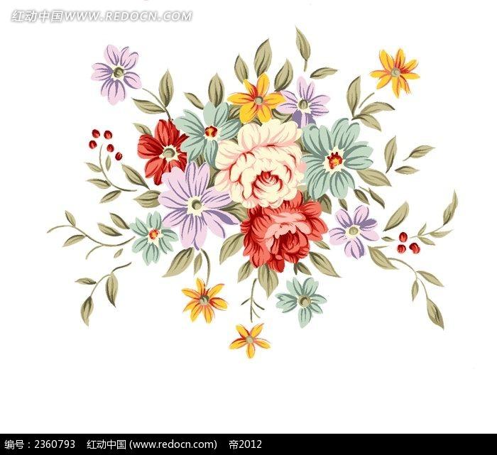 精美的手绘玫瑰花束psd免费下载_花纹花边素材_编号