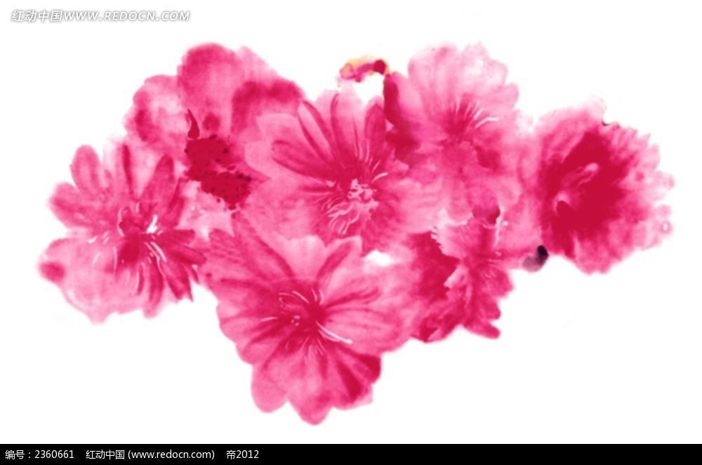 手绘粉色花朵素材图