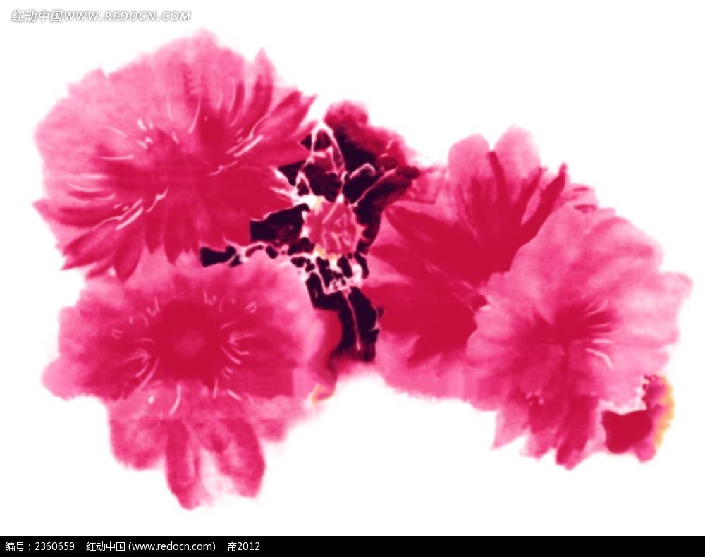 手绘粉色花朵素材