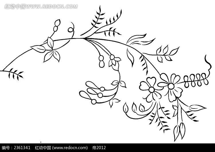黑白简约边框装饰艺术花纹psd素材
